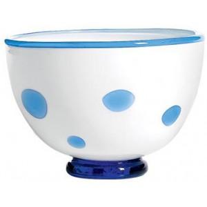 Салатник Bon Bon Bowl белый ГОРОШЕК аквамарин