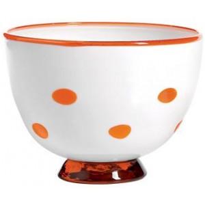 Салатник Bon Bon Bowl белый ГОРОШЕК оранжевый