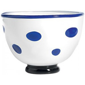 Салатник Bon Bon Bowl белый ГОРОШЕК синий