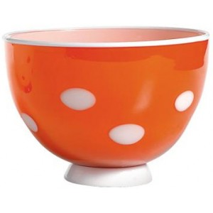 Салатник Bon Bon Bowl оранжевый ГОРОШЕК белый