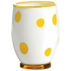 Стакан Bon Bon Tumbler белый ГОРОШЕК желтый