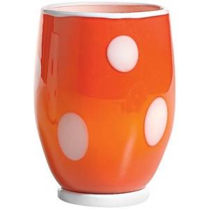 Стакан Bon Bon Tumbler оранжевый ГОРОШЕК белый