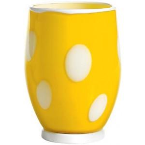 Стакан Bon Bon Tumbler желтый ГОРОШЕК белый