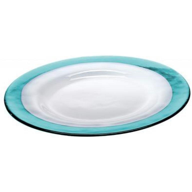 Тарелка Strip Glass Plate бирюзовый-белый