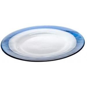 Тарелка Strip Glass Plate синий белый