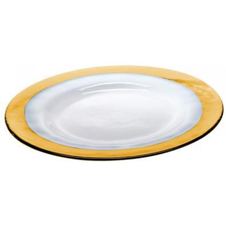 Тарелка Strip Glass Plate янтарный белый