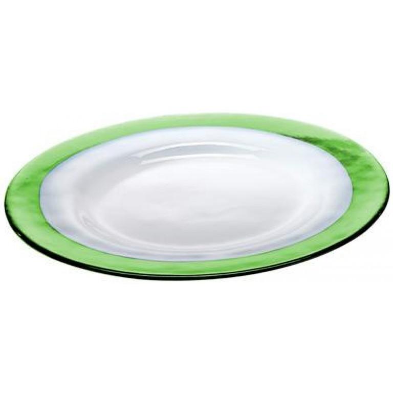 Тарелка Strip Glass Plate зеленое яблоко-белый