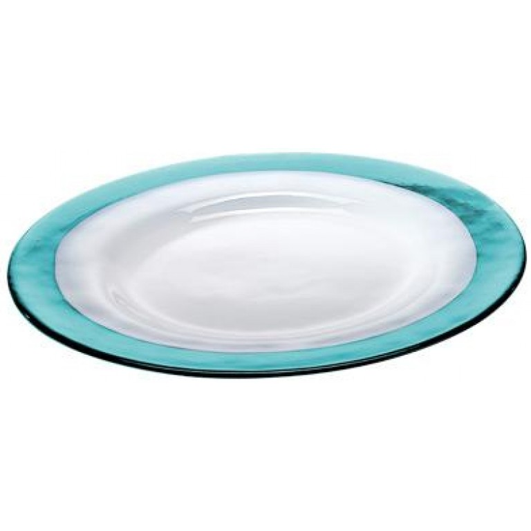 Тарелка Strip Glass Plate бирюзовый