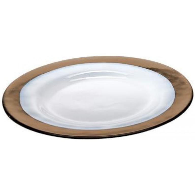 Тарелка Strip Glass Plate коричневая