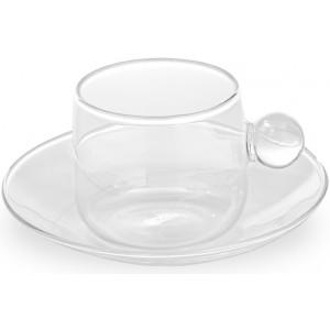 Кофейная чашка+блюдце Bilia прозрачная
