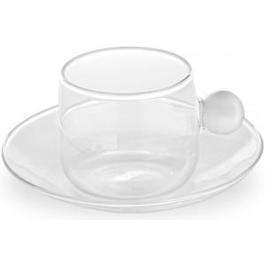Кофейная чашка+блюдце Bilia белая