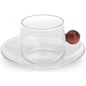 Кофейная чашка+блюдце Bilia янтарная