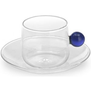 Кофейная чашка+блюдце Bilia синяя