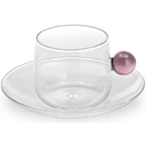 Кофейная чашка+блюдце Bilia розовая