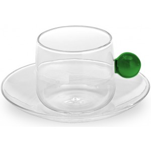 Кофейная чашка+блюдце Bilia зеленая