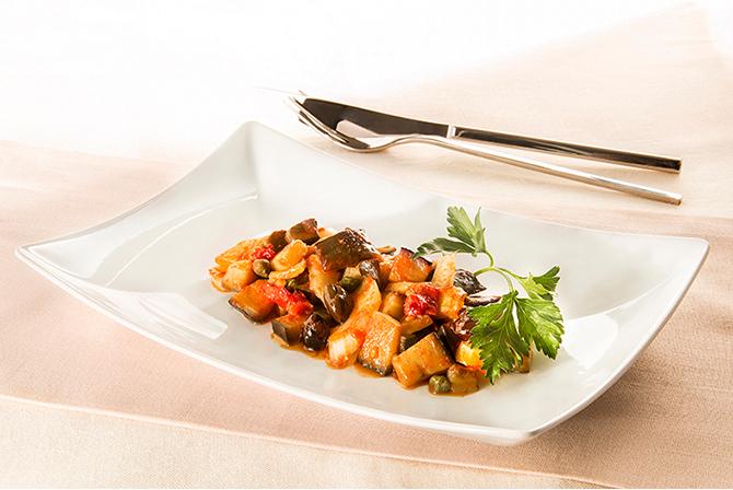 Aubergine and tomato caponata