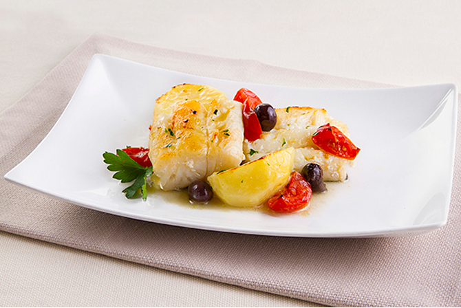Salt cod with olives and cherry tomatoes