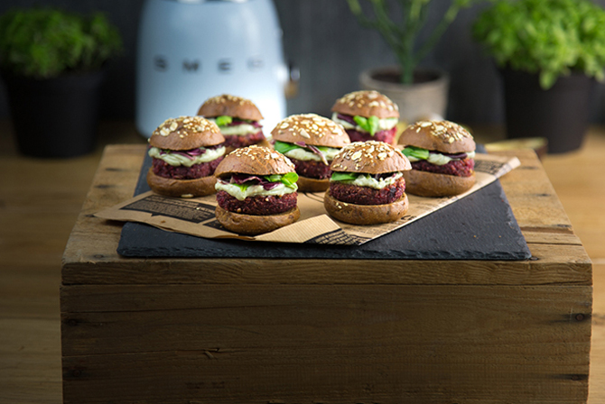 Vegan Beet Mini Burgers with Avocado Yogurt Sauce