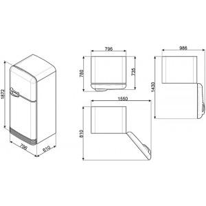 Отдельностоящий двухдверный холодильник FAB50RPG