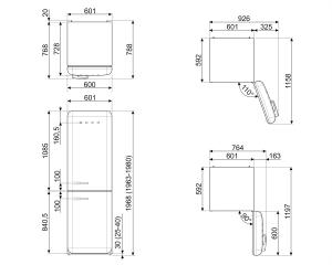 Отдельностоящий двухдверный холодильник FAB32ROR3