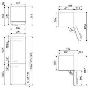 Отдельностоящий двухдверный холодильник FAB32LOR3
