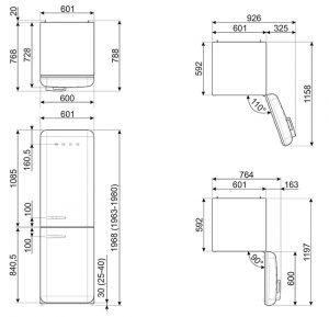Отдельностоящий двухдверный холодильник FAB32LPK3