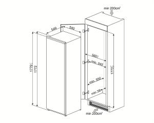 Встраиваемый однодверный холодильник S7298CFD2P1