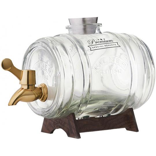 Диспенсер для напитков Barrel на подставке 1л в подар.упак. Kilner K_0025.811V золотой