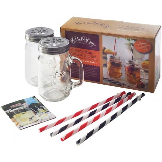 Подарочный набор из 2 банок с ручками и 4 трубочек Kilner K_0025.480V