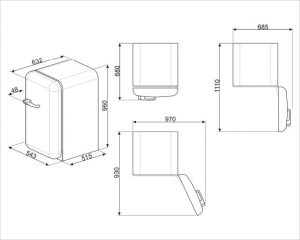Отдельностоящий однодверный холодильник FAB10HRCR2